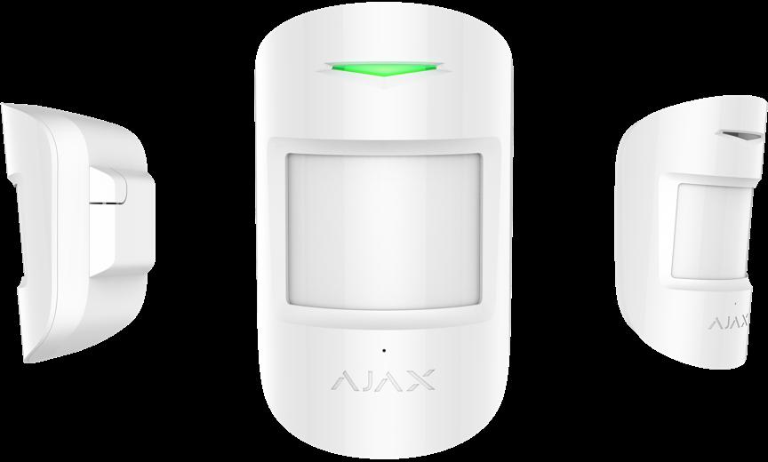 detector de movimiento y rotura de cristales combiprotect de ajax blanco